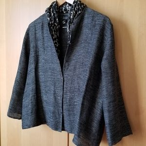 Eileen Fisher. Gray Black Linen Blend Jacket. Smal